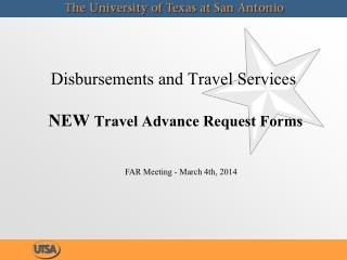 Disbursements and Travel Services NEW  Travel Advance Request Forms