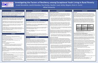 Investigating the Factors of Resiliency among Exceptional Youth Living in Rural Poverty