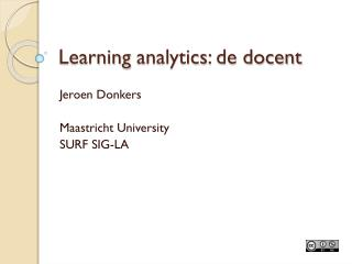 Learning  analytics : de docent
