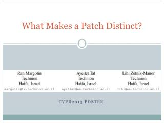 What Makes a Patch Distinct?