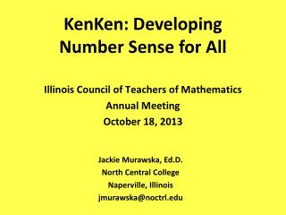 KenKen: Developing Number Sense for All