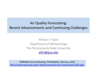 Air Quality Forecasting: Recent Advancements and Continuing Challenges