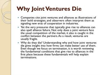 Why Joint Ventures  Die