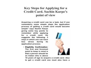 KEY STEPS FOR APPLYING FOR A CREDIT CARD.