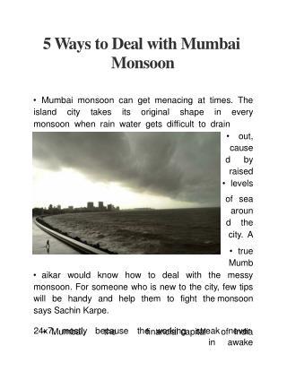 5 Ways to Deal with Mumbai Monsoon