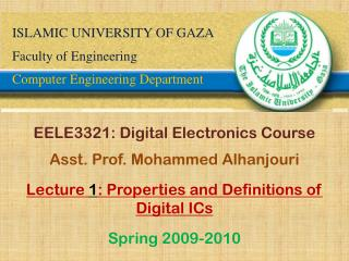 ISLAMIC UNIVERSITY OF GAZA Faculty of Engineering Computer Engineering Department