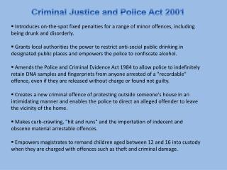 Criminal Justice and Police Act 2001
