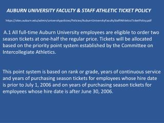 AUBURN UNIVERSITY FACULTY & STAFF ATHLETIC TICKET POLICY