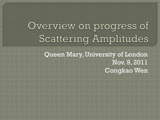 Overview on progress of  Scattering Amplitudes