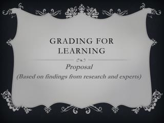 Grading for Learning
