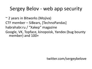 Sergey Belov - web  app  security