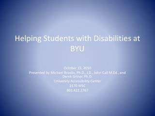 Helping Students with Disabilities at BYU
