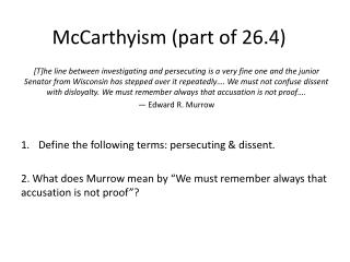 McCarthyism (part of 26.4)