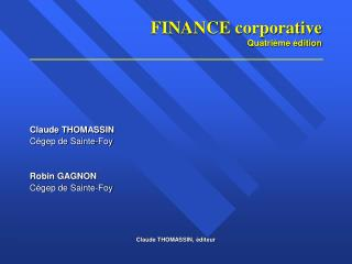 FINANCE corporative Quatrième édition