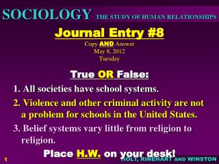Journal Entry #8 Copy  AND  Answer May 8, 2012 Tuesday
