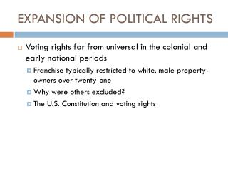EXPANSION OF POLITICAL RIGHTS