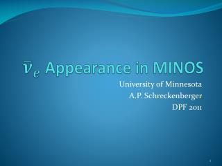 Appearance in MINOS