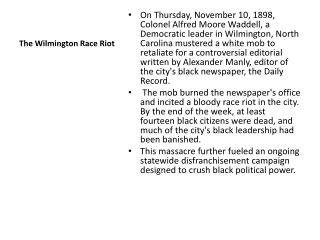 The Wilmington Race Riot