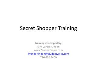 Secret Shopper Training