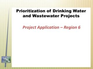 Prioritization of Drinking Water and Wastewater Projects