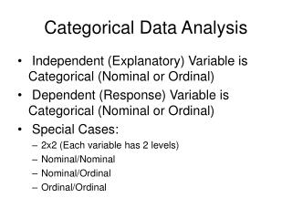Categorical Data Analysis