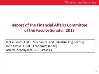 Report of the Financial Affairs Committee of the Faculty Senate:  2013