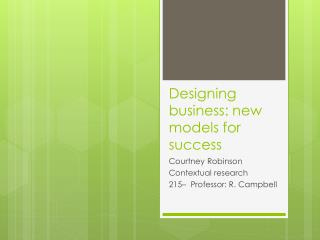 Designing business: new models for success