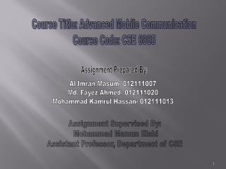 Assignment Supervised By:  Mohammad Mamun Elahi Assistant Professor, Department of CSE