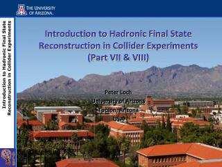 Introduction to  Hadronic  Final State Reconstruction in Collider Experiments (Part VII & VIII)