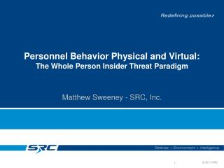 Personnel Behavior Physical and  Virtual: The Whole Person Insider Threat Paradigm