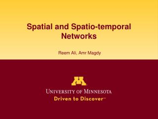 Spatial and Spatio-temporal Networks  Reem Ali, Amr Magdy