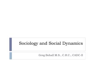 Sociology and Social Dynamics