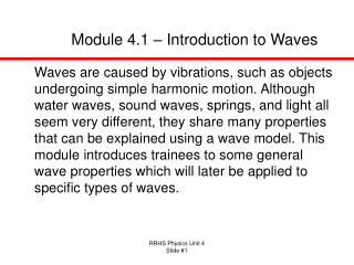 Module 4.1 – Introduction to Waves