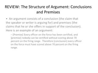 REVIEW: The Structure of Argument: Conclusions and Premises