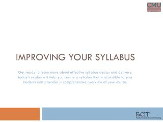 Improving Your Syllabus