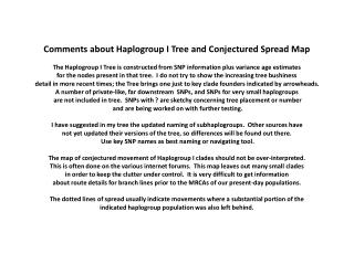 Comments about  Haplogroup  I Tree and Conjectured Spread Map