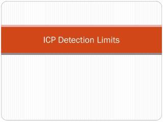 ICP Detection Limits