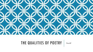 The Qualities of Poetry