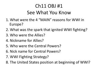 Ch11 OBJ #1 See What You Know