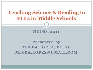 Teaching  Science & Reading  to  ELLs  in Middle Schools