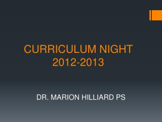 CURRICULUM NIGHT 2012-2013