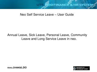 Neo Self Service Leave – User Guide