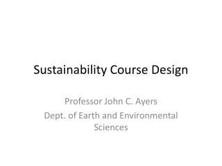 Sustainability Course  Design