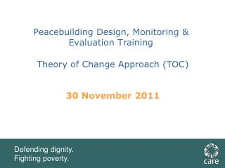 Peacebuilding Design, Monitoring & Evaluation Training