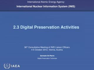 2.3 Digital Preservation Activities