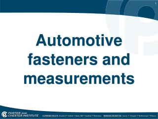 Automotive fasteners and measurements