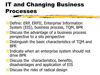 IT and Changing Business Processes