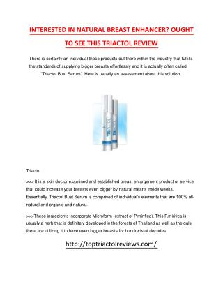 Triactol Review - How exactly does Triactol Bust Serum Work