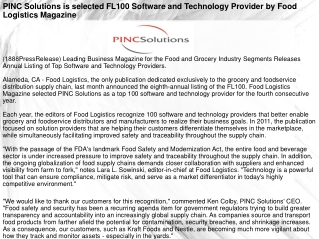 (1888PressRelease) Leading Business Magazine for the Food an