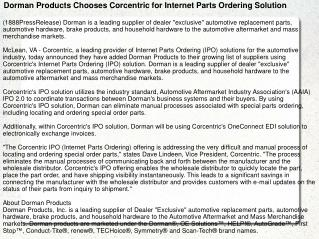 Dorman Products Chooses Corcentric for Internet Parts Orderi